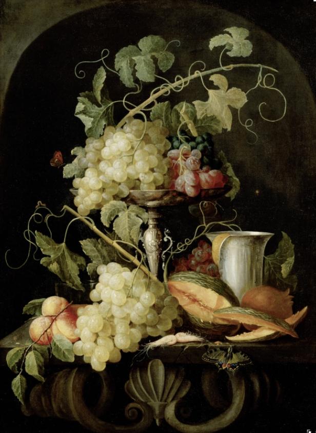 Attribuito a Jan van den Hecke, Natura Morta con frutta 1650-1660